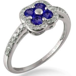 Blue Sapphire 14K White Gold Natural Diamond Ring